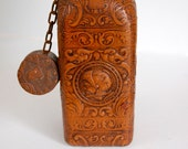 Vintage Spanish Tooled Leather Decanter - Made in Spain