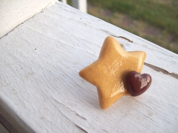 Gold and brown starXheart ring