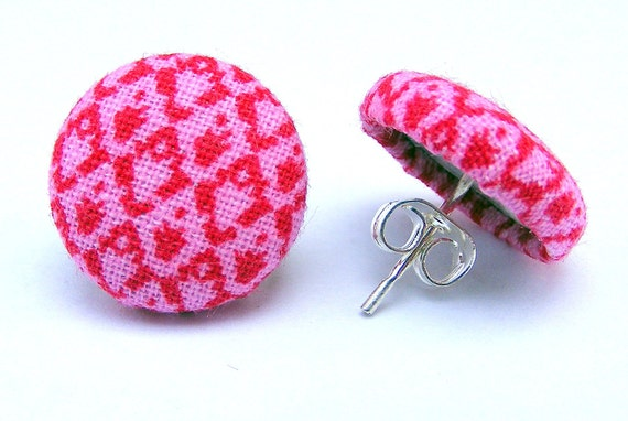 """Hand Pressed Fabric Covered Button Earring Post - Pink Peony - 5/8"""""""