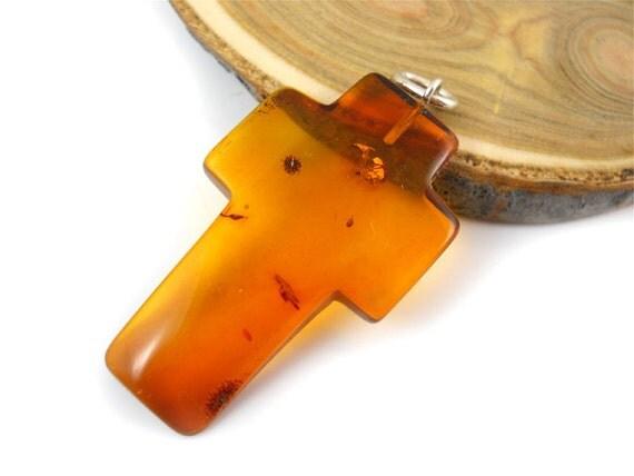 Natural Baltic Amber CROSS - Cognac - 1pcs- SIZE  XL - huge - 38x24mm