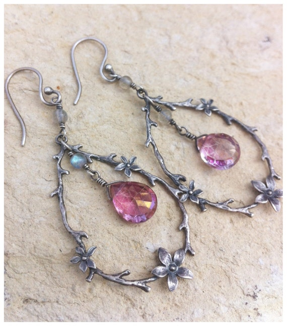 Sterling wire wrapped earrings with Mystic Pink Topaz and Labradorite.