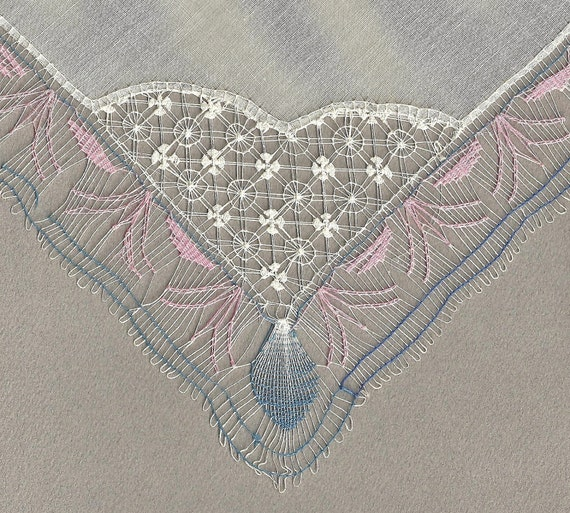 Spiderweb or Tenerife Lace Handkerchief - Choice of ONE - Fabulous Hand Crafted Edging - Exquisitely Sheer - Beautiful Vintage Wedding Hanky