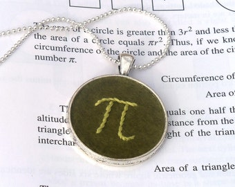 Pi keychain or necklace, hand embroidered, green math geek pendant
