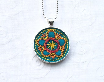 Flower hand stitched pendant, vintage inspired embroidery design