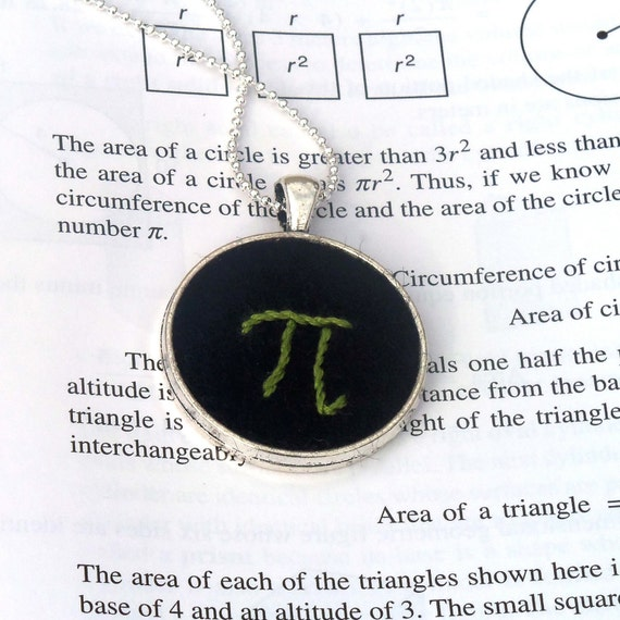 Hand Embroidered, Pi Keychain or Pendant, Silver Tone Necklace for the Math Enthusiast