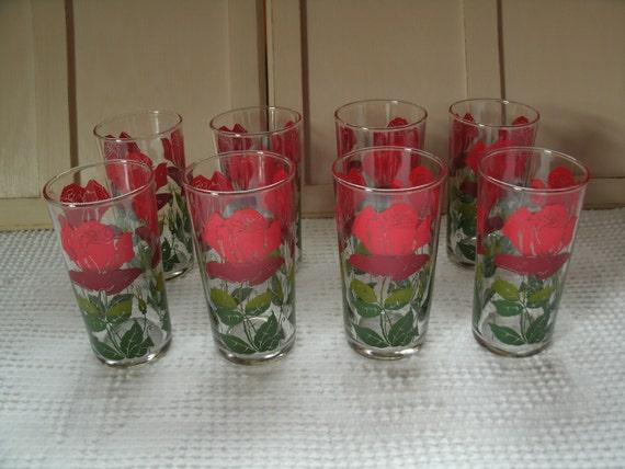 Set of Eight Vintage 1950s Rose Juice Glasses, Retro Drinking Glasses