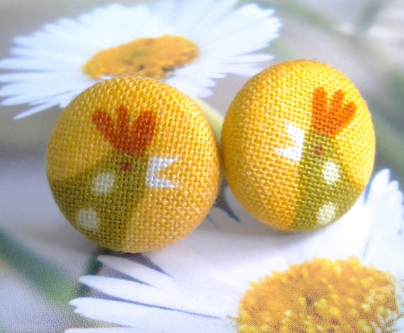 Yellow  Green Chicken Fabric Covered Button Stud Earrings 15mm