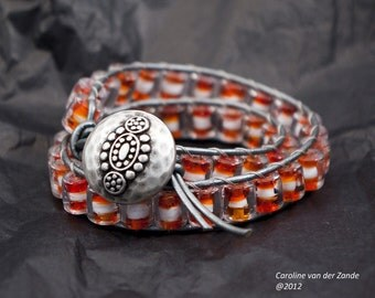 Boho Beaded Leather Wrap Bracelet with Creamsicle Orange and White Handmade Glass Beads and Metallic Grey Leather