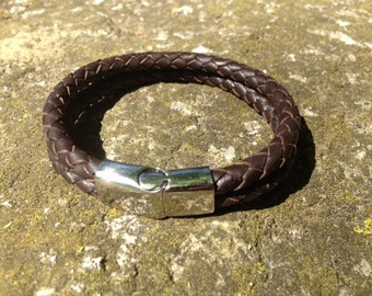 Mens Leather Bracelet, Braided Bolo Leather, Stainless Steel Magnetic Clasp