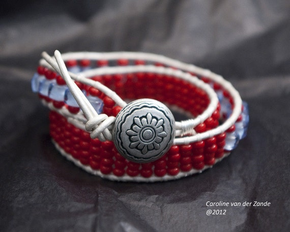 Red White and Blue Boho Beaded Leather Wrap Bracelet with Denim Blue Handmade Glass Beads and Deep Red Czech Beads on Pearl Leather (LW-272)