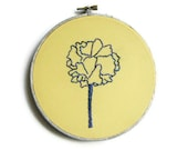 Blue Purple Flower Embroidery Hoop / Bright Yellow 6 inch Hoop Home Decor - Perfect for Nursery