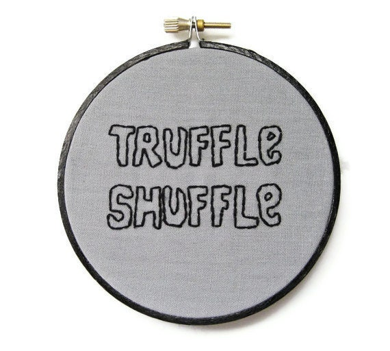 The Goonies Hand Embroidery Hoop Art Movie Quote : Truffle Shuffle - Retro 80s Hand Embroidered Home Decor