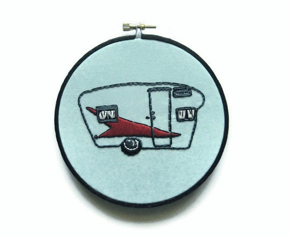 Fifties Vintage Camper Embroidery Hoop / Blue Kitschy Vintage Retro 5 inch Hoop Home Decor