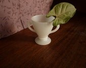 Double-Handled Milk Glass Cup