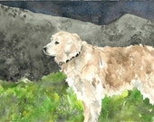 Original Watercolor Painting - sweet golden retriever
