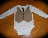 Dapper Dan Long Sleeve Onesie with Tie and Navy Vest 12 months onsie
