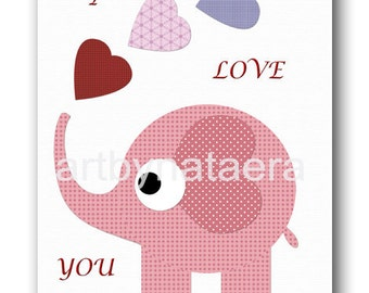 Art for Kids Room Kids Wall Art Baby Girl Nursery Room Decor Baby Nursery print Baby Girl Art ELEPHANT blue pink green