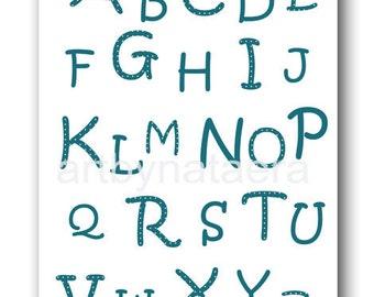 Baby Boy Nursery Decor Nursery Alphabet nursery Baby Room Decor Kids Wall Decor Baby Boy nursery print artwork Blue