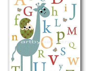 Giraffe Nursery Art Print Baby Nursery Decor Nursery Wall Art Children Wall Art Nursery Print Baby Art Bird Nursery Alphabet Blue Green