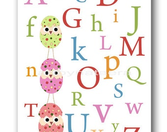 Art for Kids Room Kids Wall Art Baby Girl Nursery Room Decor Baby Nursery print rose pink nursery alphabet nursery artwork