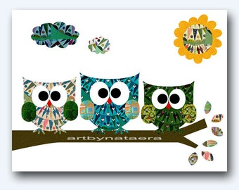 Baby Print Art for Kids Room Kids Wall Art Baby Boy Nursery Room Decor Baby Nursery print owls decor green blue owls decoration
