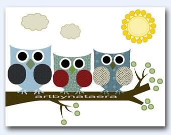 Owls Art for Kids Room Kids Wall Art Baby Boy Nursery Room Decor Baby Boy Decor Baby Nursery print owls decoration green blue grey