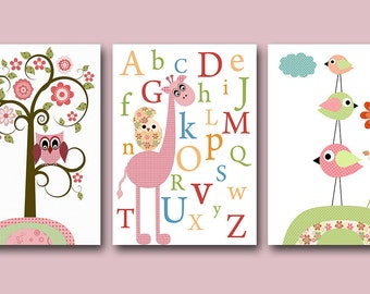 Print For Baby Room Kids Decor Kids Wall Art Baby Nursery Decor Baby Girl Nursery Print set of 3 11x14 Nursery Alphabet Giraffe Rose Green