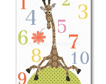 Baby Boy Nursery numbers kids room decor nursery room decor baby decor baby nursery art print boy print giraffe numbers green rose blue