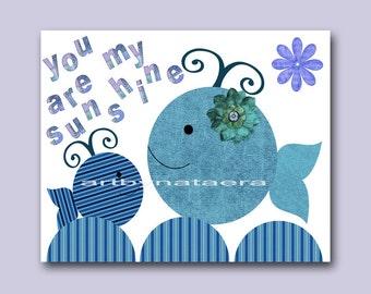 Blue Navy Bathroom Decor Baby Boy Wall Art for Kids Room Kids Wall Decor Baby Boy Nursery Canvas Whale Baby Room Decor Kids Artwork