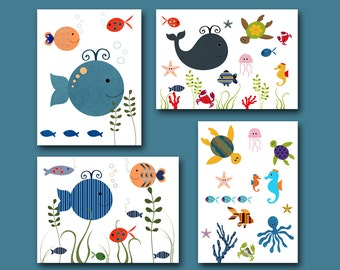 Art for Children Kids Wall Art Baby Boy Room Decor Nursery print art Baby Boy Nursery Decor set of 4 kids art baby art fish whale
