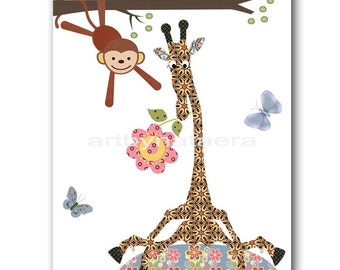Kids Wall Art Baby Nursery Wall Art Kids Room Decor Children Room Decor Kids Wall Decor Nursery Print Boy Animals Giraffe Monkey Purple