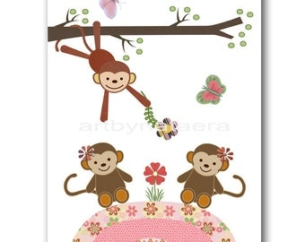 Nursery Art baby girl nursery Baby Girl Wall Decor baby nursery wall art children wall art baby nursery print baby art girl monkey
