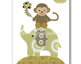 Nursery Decor Nursery Art Baby Boy Nursery Print Kids Art Baby Decor Baby Nursery Children Art Children Prints Elephant Monkey Green
