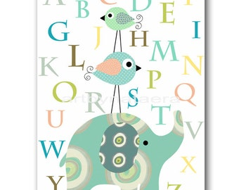 Art for Children Kids Wall Art Baby Boy Nursery Room Decor Baby Nursery print Boy Print elephant birds alphabet nursery blue artwork