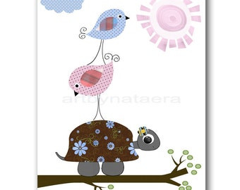 Baby Print Kids Wall Art Kids Room Decor Kids Wall Decor Baby Art Nursery Birds Baby Girl Nursery Turtle Kids Bird Baby Decoration Rose