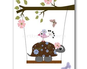 Kids Art for Children Kids Decor Baby Girl Nursery Art Children Decor Childrens Print Baby Girl Art Print Turtle Decoration Birds Rose