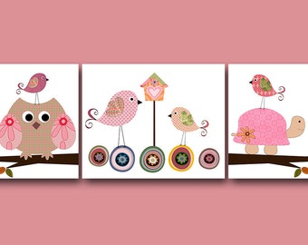Owls Birds Turtle Art for Children Kids Wall Art Baby Girl Decor Baby Room Decor Baby Girl Nursery Prints set of 3 Owls Decoration Rose