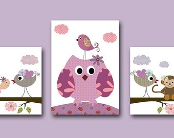 Art for Children Kids Wall Art Baby Girl Room Decor Baby Nursery Decor Baby Girl Nursery Prints set of 3 Violet Nursery Owls Decoration