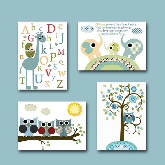 Childrens wall art baby room decor owls baby boy by artbynataera - Wall decor for baby boy ...