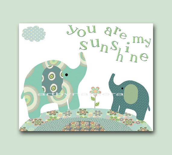 You Are My Sunshine Kids Wall Art Nursery Decor Baby Nursery Room Art children wall art Baby Boy Nursery print Boy Print elephants