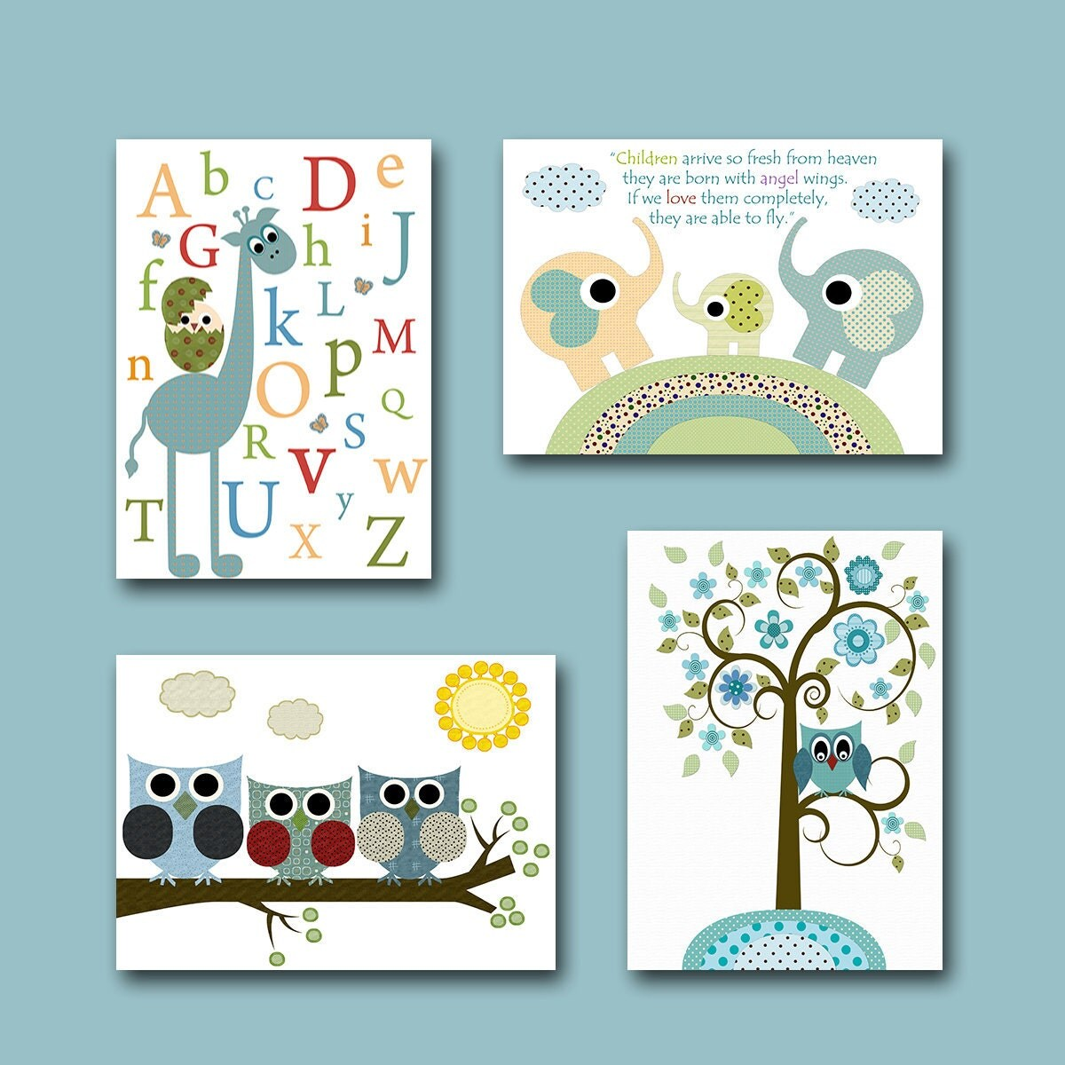 Baby Room Decor Nursery Decor Nursery Boy Kids Art By: Childrens Wall Art Baby Room Decor Owls Baby Boy Nursery Print