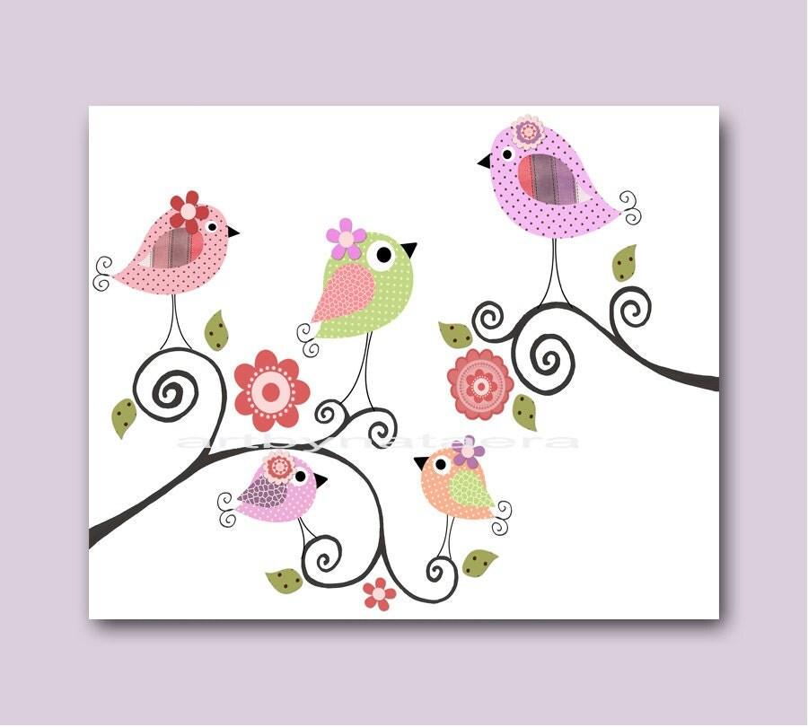Nursery Art For Children Kids Wall Art Baby Girl Nursery Baby: Bird Decor Baby Nursery Decor Art For Children Kid Wall Art