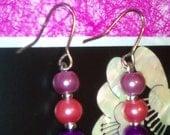 Earring UK Handmade Lilac Peach Purple Pearl Glass Silver Plated Hooks