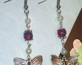 Earring UK Handmade Tibetan Silver Charm Pendant Millfiori Glass Silver Plated Hooks, Spring