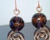 Earring UK Handmade Lampwork Purple Glass Bead Dangle Copper Tone Aluminium Wire Wrap Coil, Copper Hook