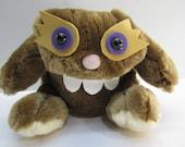 """Monster """"Bongo"""" hand made stuffed plush animal art  original chratacter creation art nauga"""