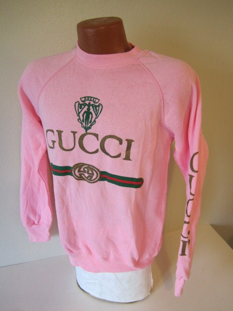 PINK vintage GUCCI 80's sweatshirt t long sleeve by hamchovy