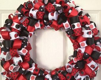 Ladybug Love Ribbon Wreath