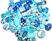 500 gms Fancy Lampwork Glass Beads Mix Assortment Turquoise (FREE Shipping WORLDWIDE)