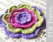 PDF Pattern Big Crochet Flower Applique
